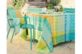 Mille Colibris Maldives Round French Coated Tablecloth by Garnier-Thiebaut