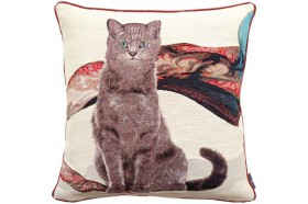 Sitting tabby cat with scarf French Tapestry Pillow by Art de Lys