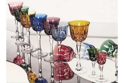 Cologne Roemers Colored luxury red wine crystal glasses by Cristallerie de Montbronn