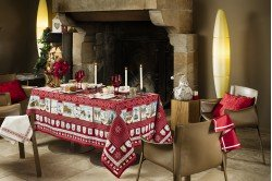A la Neige Snow Fun Red French tablecloth by Beauvillé