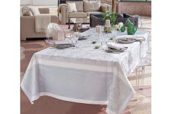 Lysandra Mist French luxury Tablecloth by Garnier-Thiebaut, romantic, wedding, formal occasions