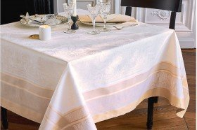 Persina Gold luxury French Tablecloth and table linens by Garnier-Thiebaut