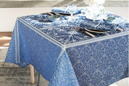 Cassandre Saphire French luxury Tablecloth made in France by Garnier-Thiebaut