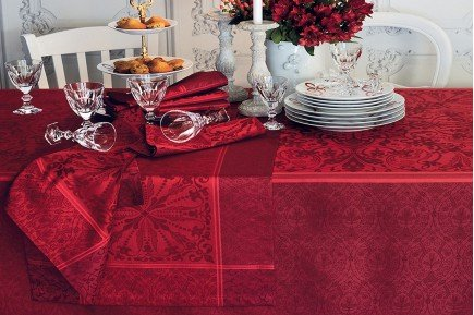 Cassandre Garnet Red luxury Holiday Christmas French Tablecloth by Garnier-Thiebaut