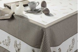 Chickens Grey Country French Tablecloth made in France by Beauvillé