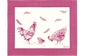 Chickens Red Placemat Country French table linens by Beauvillé