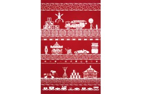 Christmas Toys French Tea Towel kitchen linen by Beauvillé