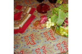 Vine Leaf Red Feuilles de vigne French luxury Tablecloth by Beauvillé