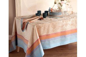 Isaphire Iridescent French luxury tablecloth by Garnier-Thiebaut