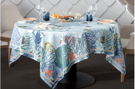 Porquerolles Island Blue Tablecloth