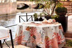 Porquerolles Islands Coral French luxury tablecloth by Beauvillö