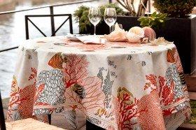 Porquerolles Islands Coral Tablecloth