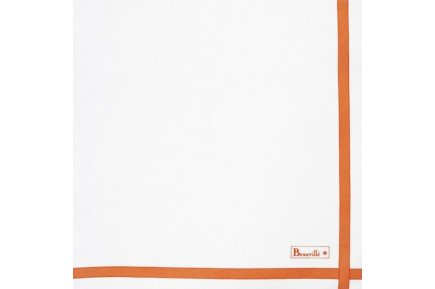 Two Color Napkin White/coral French napkin by Beauvillé
