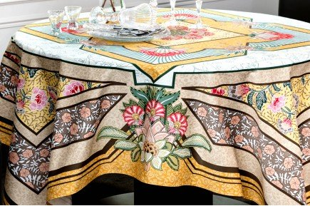 Versailles Yellow luxury French Art Deco tablecloth by Beauvillé