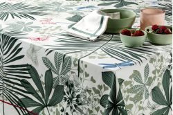 Great Palms Green French luxury placemats and table linen collection by Beauvillé