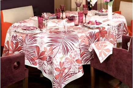 Great Palms Pink Mauve French luxury Tablecloth and table linens by Beauvillé