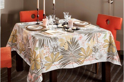Great Palms Beige French luxury tablecloth and table linens by Beauvillé