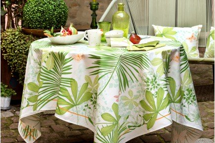 Great Palms Anis Green French luxury tablecloth and table linens by Beauvillé