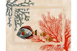 Porquerolles Island Coral Luxury French Coated Placemat by Beauvillé