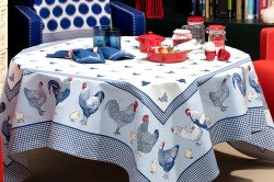 Picoti Chickens Blue tablecloth by Beauvillé French table linens