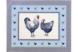 Picoti Chickens Blue placemats Country French linens by Beauvillé