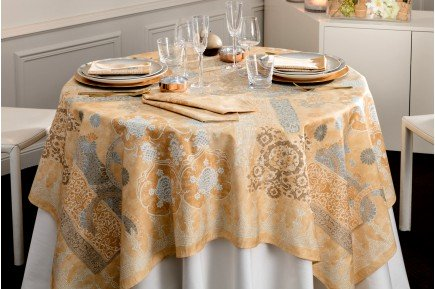 Rialto Champagne French luxury Tablecloth and table linens by Beauville