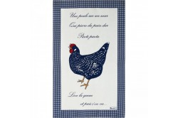Picoti chickens blue tea towels kitchen linen by Beauville
