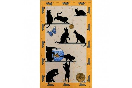 Cats French Yellow Tea Towel fine Kitchen linen by Beauville