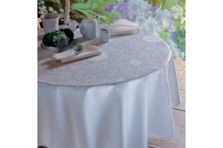Appoline White luxury white damask tablecloth by Garnier Thiebaut