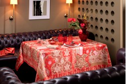 Rialto Red French Tablecloth and table linen collection by Beauvillé
