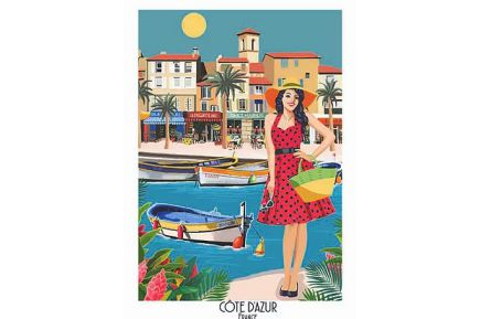 Cote d'Azur Provence Kitchen Towel Made in France