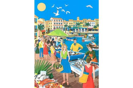 Provencal Fish Market French Kitchen Towel Provencal kitchen linen made in France