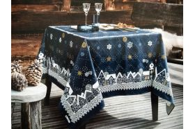 Starry Night Nuit Etoilee Blue French luxury Christmas Tablecloth by Beauvillé