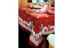 Starry Night Nuit Etoilee Red Christmas Tablecloth by Beauville