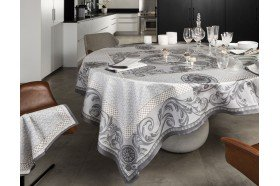 Chambord Grey Tablecloth French luxury table linen by Beauvillé