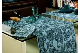 Diner en Ville Teal paisley fine French Tablecloth by Beauvillé