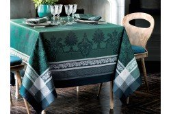 Fontainebleau Green French luxury Tablecloth by Garnier-Thiebaut
