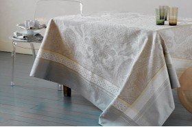 Isaphire Silver/beige Luxury French Tablecloth by Garnier-Thiebaut
