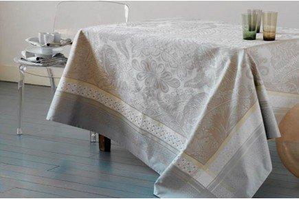 Isaphire Silver/beige Luxury French Tablecloth by Garnier-Thiebaut