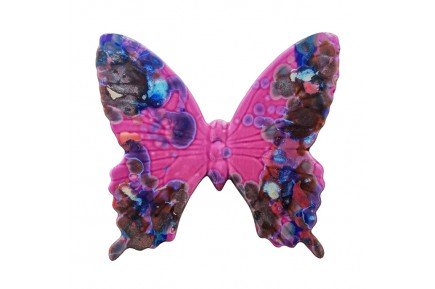 Pink Butterfly Provencal Ceramic handmade in France by Louis Sicard