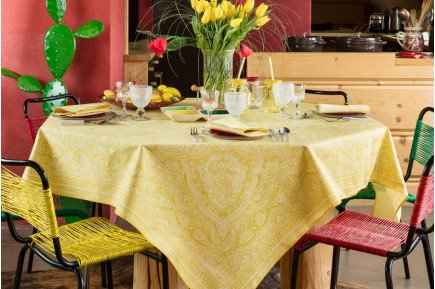 Marella Lemon Yellow French tablecloth by Beauvillé
