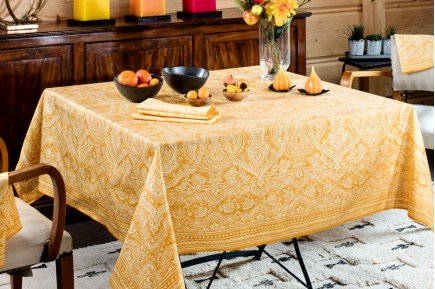 Marella Orange French tablecloth made in France by Beauvillé