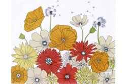 Summer Flowers Fleurs des Champs Yellow coated placemats made in France by Beauville