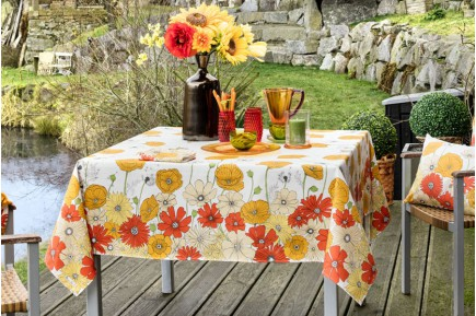 Yellow Summer Flowers Fleurs des Champs  French tablecloth by Beauville