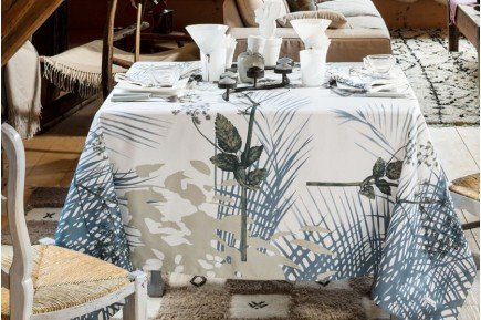 Caucase Blue Tablecloth luxury linens made in France by Beauville