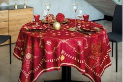 Christmas Fairyland Feerie Red Tablecloth French luxury table linens made in France