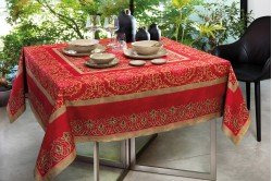 Palazzo Red French luxury Christmas Tablecloth made in France by Beauvillé