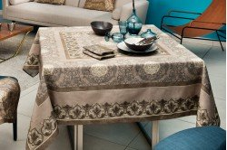 Palazzo Beige Holiday Christmas French luxury Tablecloth made in France by Beauville