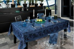 Topkapi Navy French luxury Tablecloth made in France by Beauville