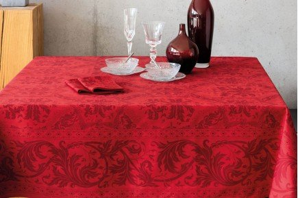 Topkapi Red French luxury Tablecloth made in France by Beauville